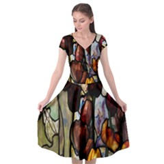 Tiffany Window Colorful Pattern Cap Sleeve Wrap Front Dress by Sapixe
