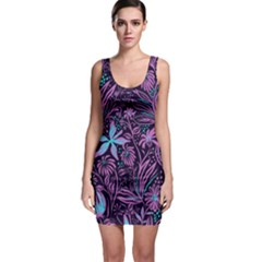 Stamping Pattern Leaves Drawing Bodycon Dress by Sapixe