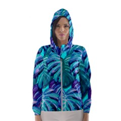 Leaves Tropical Palma Jungle Hooded Windbreaker (women) by Sapixe
