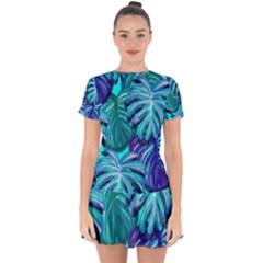 Leaves Tropical Palma Jungle Drop Hem Mini Chiffon Dress by Sapixe