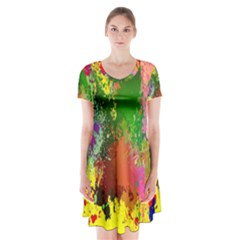 Embroidery Dab Color Spray Short Sleeve V Neck Flare Dress by Sapixe
