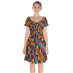 Background Abstract Texture Short Sleeve Bardot Dress by Sapixe