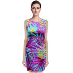 Tropical Greens Leaves Design Classic Sleeveless Midi Dress by Sapixe