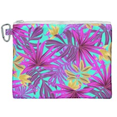 Tropical Greens Leaves Design Canvas Cosmetic Bag (xxl) by Sapixe