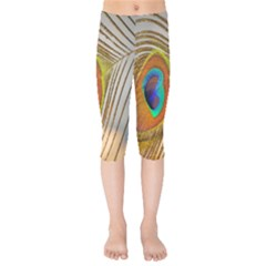 Peacock Feather Feather Bird Kids  Capri Leggings  by Sapixe