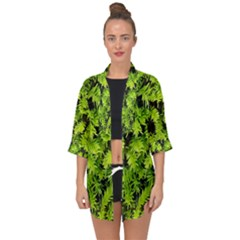 Green Hedge Texture Yew Plant Bush Leaf Open Front Chiffon Kimono by Sapixe