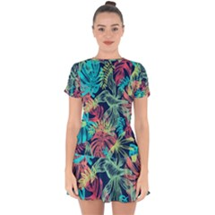 Leaves Tropical Picture Plant Drop Hem Mini Chiffon Dress by Sapixe