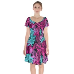 Leaves Drawing Reason Pattern Short Sleeve Bardot Dress by Sapixe