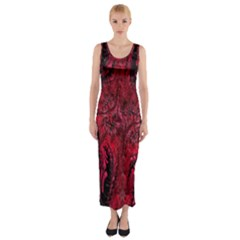 Wgt Fractal Red Black Pattern Fitted Maxi Dress