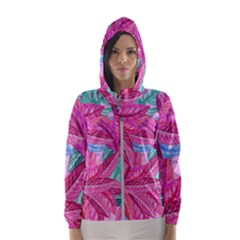 Leaves Tropical Reason Stamping Hooded Windbreaker (women) by Sapixe
