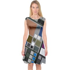 Abstract Composition Capsleeve Midi Dress