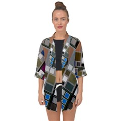 Abstract Composition Open Front Chiffon Kimono by Samandel
