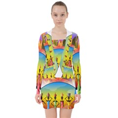 African American Women V Neck Bodycon Long Sleeve Dress by AlteredStates