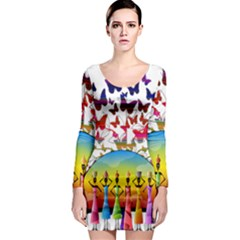 African Americn Art African American Women Long Sleeve Bodycon Dress by AlteredStates