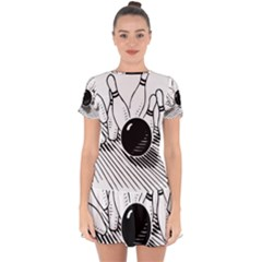 Bowling Ball Sport Drop Hem Mini Chiffon Dress