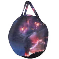 Volcano Lightning Wallpapers Flash Strom Giant Round Zipper Tote
