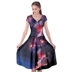 Volcano Lightning Wallpapers Flash Strom Cap Sleeve Wrap Front Dress by AnjaniArt