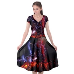 Volcanic Lightning Eruption Cap Sleeve Wrap Front Dress by AnjaniArt
