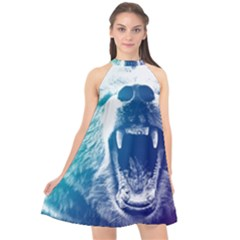 Bear Grizzly Wallpaper Halter Neckline Chiffon Dress  by AnjaniArt