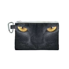 Face Black Eye Cat Canvas Cosmetic Bag (small)