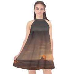 Desert Lighting Strom Flash Halter Neckline Chiffon Dress