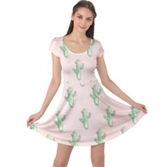 Green Cactus Pattern Cap Sleeve Dress by AnjaniArt