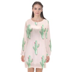 Green Cactus Pattern Long Sleeve Chiffon Shift Dress  by AnjaniArt