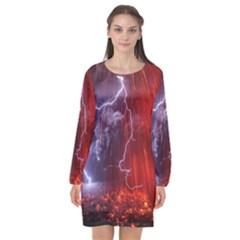 Fire Volcano Lightning Montain Wallpapers Long Sleeve Chiffon Shift Dress