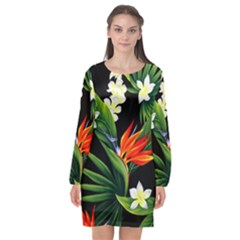 Frangipani Flower Long Sleeve Chiffon Shift Dress