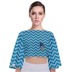 Chevron Mermaid Pattern Tie Back Butterfly Sleeve Chiffon Top by emilyzragz