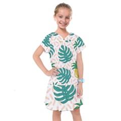 Green Leaf Fruite Pineapples Kids  Drop Waist Dress by AnjaniArt