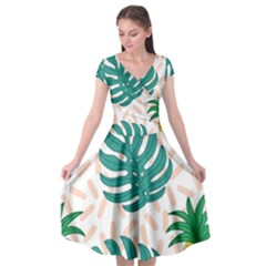 Green Leaf Fruite Pineapples Cap Sleeve Wrap Front Dress by AnjaniArt