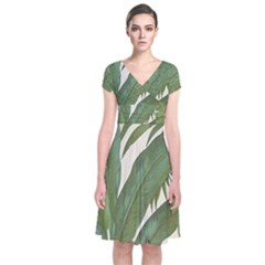 Green Palm Leaf Wallpaper Short Sleeve Front Wrap Dress
