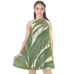 Green Palm Leaf Wallpaper Halter Neckline Chiffon Dress  by AnjaniArt