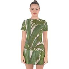 Green Palm Leaf Wallpaper Drop Hem Mini Chiffon Dress