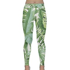 Green Palm Leaf Wallpaper Alfresco Palm Leaf Wallpaper Classic Yoga Leggings by AnjaniArt