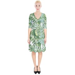 Green Palm Leaf Wallpaper Alfresco Palm Leaf Wallpaper Wrap Up Cocktail Dress by AnjaniArt