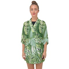 Green Palm Leaf Wallpaper Alfresco Palm Leaf Wallpaper Half Sleeve Chiffon Kimono by AnjaniArt