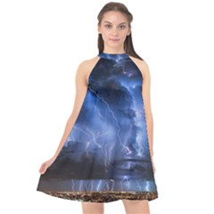 Lighting Flash Fire Wallpapers Night City Town Meteor Halter Neckline Chiffon Dress  by AnjaniArt