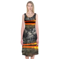 Lighting Strom Summer Star Sunset Sunrise Midi Sleeveless Dress