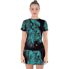 King Lion Wallpaper Jungle Drop Hem Mini Chiffon Dress by AnjaniArt