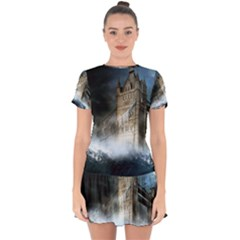 Manipulated Lodon Bridge Water Waves Drop Hem Mini Chiffon Dress by AnjaniArt