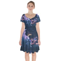 Lightning Volcano Manipulation Volcanic Eruption Short Sleeve Bardot Dress