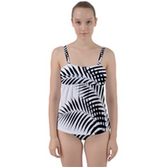Palm Leaves Twist Front Tankini Set