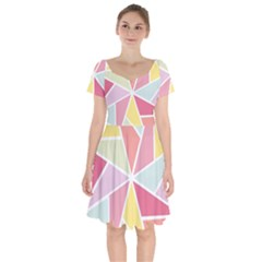 Star Triangle Rainbow Geometric Line Short Sleeve Bardot Dress