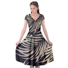 Palm Leaves Painting Grey Cap Sleeve Wrap Front Dress by AnjaniArt