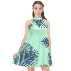 Tropical Leaves Green Leaf Halter Neckline Chiffon Dress  by AnjaniArt