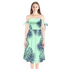 Tropical Leaves Green Leaf Shoulder Tie Bardot Midi Dress by AnjaniArt