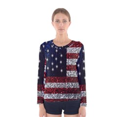 American Flag In Glitter Graphic Women s Long Sleeve Tee by bloomingvinedesign