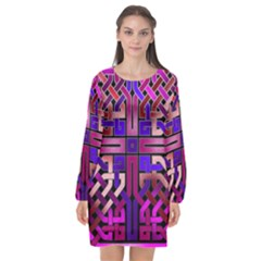 Pink Celtic Knot Square Long Sleeve Chiffon Shift Dress  by bloomingvinedesign